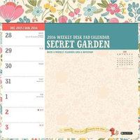 Secret Garden Weekly Desk Pad 2016 Calendar
