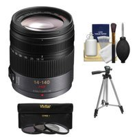Panasonic Lumix G X Vario 14-140mm f/4.0-5.8 OIS Zoom Lens with 3 UV/CPL/ND8 Filters + Tripod + Kit for G5, G6, GF5, GF6, GH3, GH4, GM1, GX7 Cameras