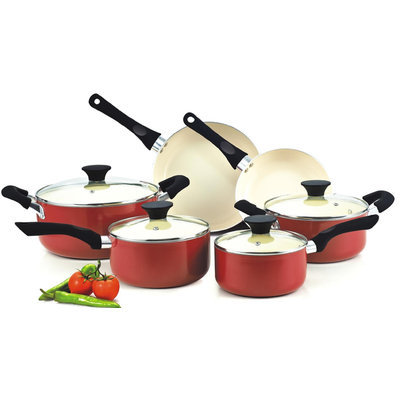 Neway Int Housewares Cook N Home Red Nonstick Ceramic Coating 10-piece Cookware Set