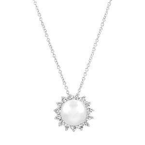 Emitations Odile's Pearl And CZ Pendant Bridal Necklace