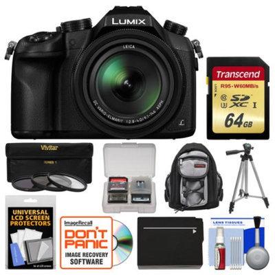 Panasonic Lumix DMC-FZ1000 4K QFHD Wi-Fi Digital Camera with 64GB Card + Backpack + Battery + Tripod + 3 Filters + Kit