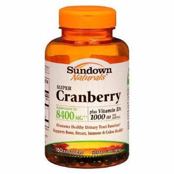 Sundown Naturals Naturals Super Cranberry plus Vitamin D3 Herbal Supplement Softgels 150 Each