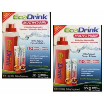 Ecodrink Multivitamin 31 Highly Absorbable Vitamins, Minerals, Nutrients with No Sugar/ Calories/ Carbs/ Caffeine- 60 Packets and 2 Shaker Bottles Included ( 30 Packets Blueberry Pomegranate, 30 Packets Peach Mango ) 7.19 Oz Dietary Supplement