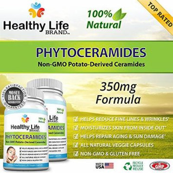 Phytoceramides Anti Aging Supplement Reviews - Healthy Life Brand - Plant Derived 350 mg Skin Care Restoring Supplement Products - Helps Reduce Fine Lines, Wrinkles and Sun Damage - Veggie Capsules