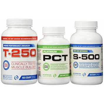 Muscle Builder Stack Supplements-Testosterone Booster for Men, Fat Burner, Nitric Oxide Supplement,S-500,T-250 and Platinum PCT, 3 Bottles Muscle Stack, 30 day Supply, Ultimate Shredded Stack, Muscle Builder, Lose Your Gut, Full Body Muscle...