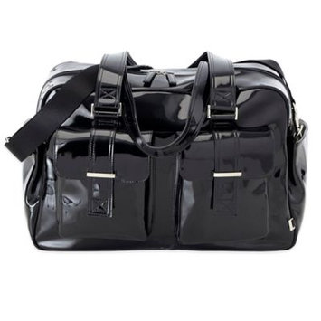 OiOi Patent Carry All Diaper Bag - Black with Zebra Lining