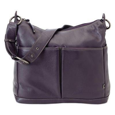 Oi Oi Leather 2 Pocket Hobo Diaper Bag (Sugar Plum)