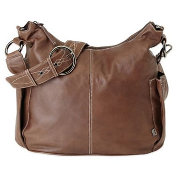 Oi Oi Lamb Leather Hobo Diaper Bag (Chocolate/with Decorative Strap)