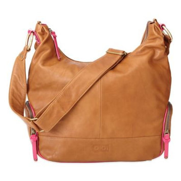 OiOi Leather Hobo Diaper Bag in Tan/Pink