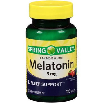 Spring Valley Melatonin Strawberry Flavor Dietary Supplement Fast-Dissolve Tablets, 3mg, 120 count