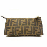 Fendi Signature Logo Small Cosmetic Case Tobacco Brown