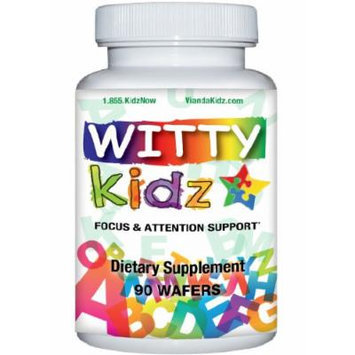 WittyKidz Focus, Attention, Concentration Brain Supplement for Kids - Calms with Magnesium Malate, DMAE, Alpha CPG, Antioxidants - Fruit Chewable Tablet for Children - 1 Month (90 Wafers)