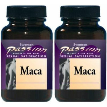 Swanson Passion Maca 500mg -- 2 Bottles each of 60 Capsules