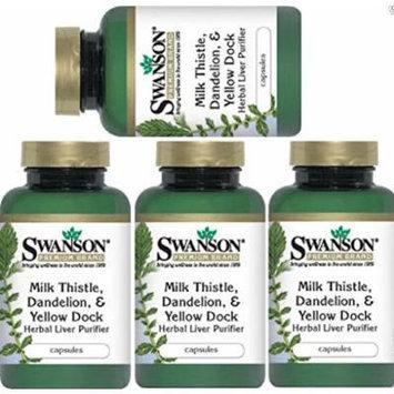 Herbal Liver Purifier - Milk Thistle, Dandelion & Yellow Dock by Swanson Premium 4 Bottles Total of 480 Caps