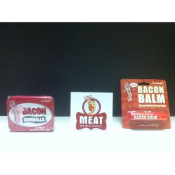 MEAT MANIAC Novelty Bacon Lovers Combo Gift Pack with Sticker- Bacon Lip Balm & Bacon Gumballs