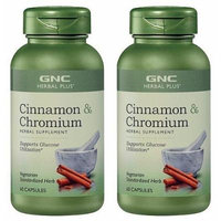 GNC Herbal Plus Cinnamon Plus Chromium 500mg -- 2 Bottles each of 60 Vegetarian Capsules