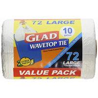 Glad Wavetop Tie Trash Bags 10 Gallon Large 72 Count