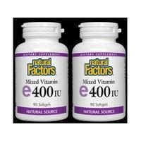 Vitamin E 400IU Pair Pack Natural Factors 90+90 Twin Pack