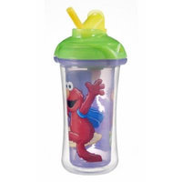 Munchkin Sesame Street Click Lock Insulated Straw Cup, 9 Ounce, Purple/Green