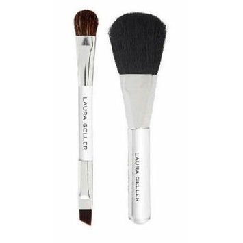 Laura Geller Set of Mini Powder Brush and Mini Double-ended Shadow/liner Brush