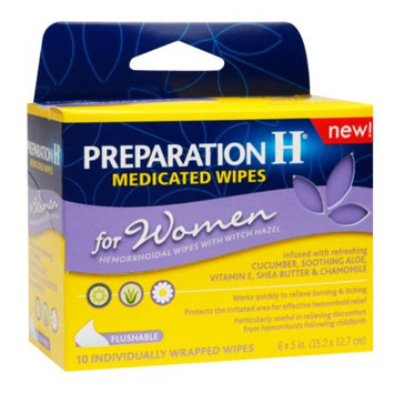 Preparation H Medicated Wipes for Women, 10 ea
