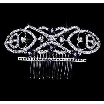 Exquisite Bridal Silver-tone Rhinestone Hair Comb Fascinator Hairpiece