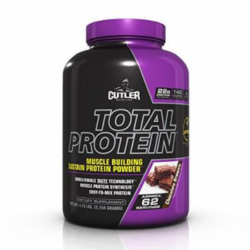 Cutler Nutrition Total Protein Muscle Building Sustain Protein Powder, Chocolate Brownie, 4.75-Pound