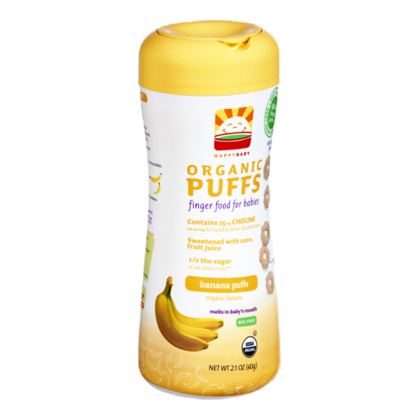 HappyBaby Organic Finger Food for Babies Banana Puffs