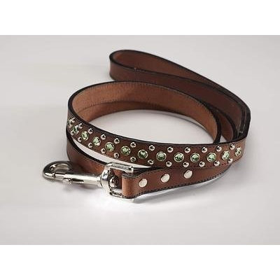 Zuri Collection 092145348772 Leash Brown Leather Green Swarovski Crystal 4 Ft. 0.75 In. Width
