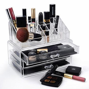 Home-it Clear acrylic Jewelry organizer and makeup organizer cosmetic organizer and Large 2 Drawer Jewelry Chest or makeup storage ideas Case Lipstick Liner Brush Holder make up boxes