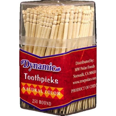 Dynamic Single Point Toothpicks In Tube, 250-Count (Pack of 24)