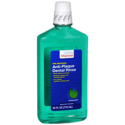 Walgreens Anti-Plaque Dental Rinse, Spring Mint, 24 fl oz