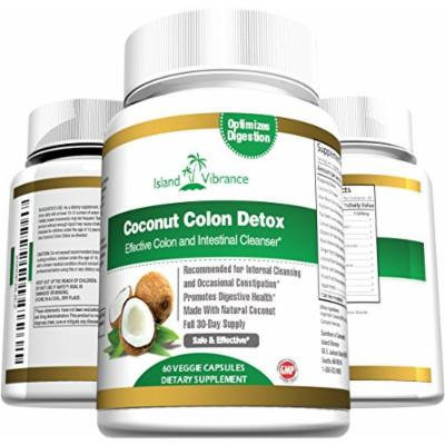 Coconut Colon Detox Supplement Super Formula for Cleanse and Weight Loss - Best All Natural Daily Digestive Cleanser and Detoxifier for Maintenance and Flushing Impurities and Toxins - 60 Veggie Capsules