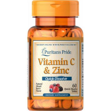 Puritan's Pride Quick Dissolve Vitamin C 60 mg with Zinc Mixed Berry-60 Tablets