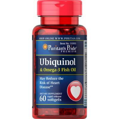 Puritan's Pride Ubiquinol 100mg & Omega 3 Fish Oil 400mg-60 Rapid Release Softgels