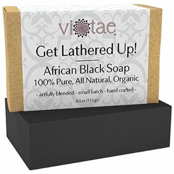 Certified Organic AFRICAN BLACK Soap - by Vi-Tae® - 100% Pure, All Natural, Aromatherapy Herbal Bar Soap - 4oz