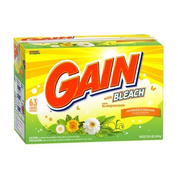 Gain Powder Detergent with Bleach, Outdoor Sunshine Scent, Case Pack, Three 63-Load Boxes (189-Loads)