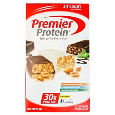 Premier Protein Bar Variety Pack - Chocolate Peanut Butter, Yogurt Peanut Crunch, Dark Chocolate Mint - 2.53-oz Each (Pack of 24)