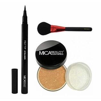 MicaBeauty Mineral Foundation Powder 9 Grams+Felt Tip Eyeliner+Blush Brush (Bundle of 3 Items) (MF3 Toffee)