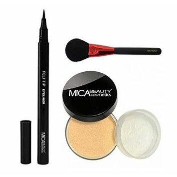 MicaBeauty Mineral Foundation Powder 9 Grams+Felt Tip Eyeliner+Blush Brush (Bundle of 3 Items) (MF7 Lady Godiva)