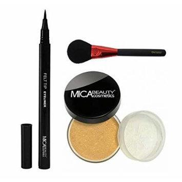 MicaBeauty Mineral Foundation Powder 9 Grams+Felt Tip Eyeliner+Blush Brush (Bundle of 3 Items) (MF6 Cream Caramel)