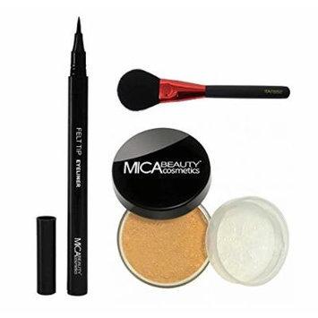 MicaBeauty Mineral Foundation Powder 9 Grams+Felt Tip Eyeliner+Blush Brush (Bundle of 3 Items) (MF9 Chocolate Kisses)