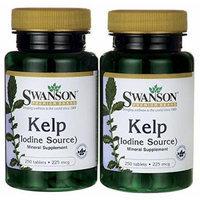 Swanson Premium Brand Kelp Iodine Source 225 mcg 2 Bottles each of 250 Tablets