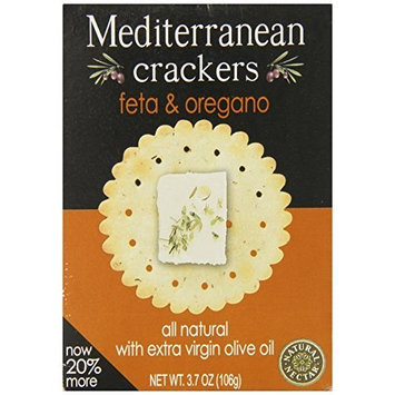 Natural Nectar Mediterranean Crackers, Feta & Oregano, 3.7-Ounce Packages (Pack of 12)