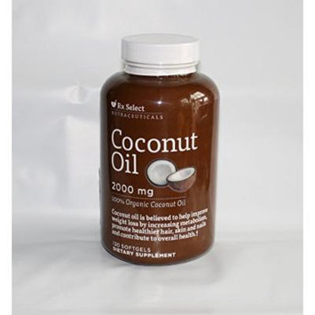 Rx Select Organic Coconut Oil 2000 Mg Softgels Dietary Supplement 120 Ct