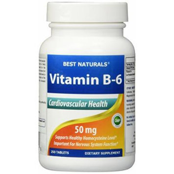 Vitamin B-6 50 mg 250 Tablets by Best Naturals -- Supports Casrdiovascular Health -- Manufactured in a USA Based GMP Certified Facility and Third Party Tested for Purity. Guaranteed!! (250 Tablets, 50 mg)