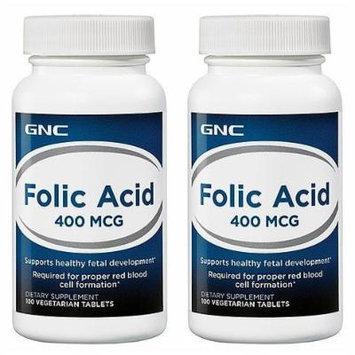 GNC Folic Acid 400mcg -- 2 Bottles each of 100 Vegetarian Tablets
