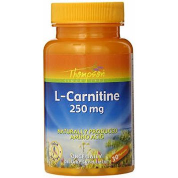 Thompson L-Carnitine Capsules, 250 Mg, 30 Count (Pack of 12)