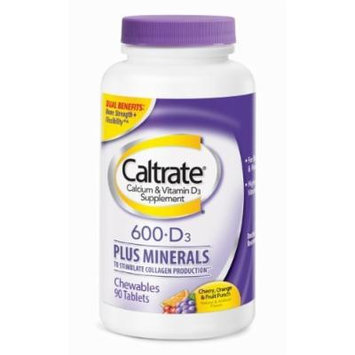 Caltrate Calcium 600mg, Vitamin D3, and Minerals, Assorted Fruit Chewable Tablets 90 CT (PACK OF 4)