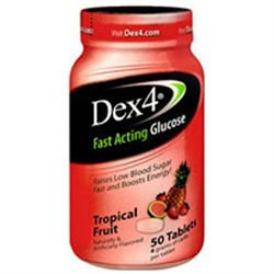 Dex4 Fast Acting Glucose Tabs Tropical Fruit 50/bottle